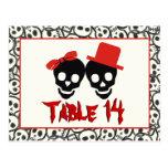 Skulls Halloween red black wedding table number