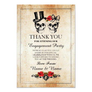 Skulls Halloween Thank You Wedding Rustic Card
