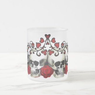 Skulls, Hearts And Roses Frosted Glass Mug