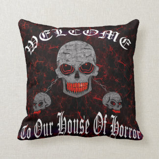 Skulls House Of Horror Throw Pillow