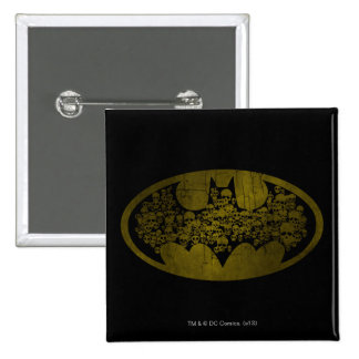Skulls in Bat Symbol 15 Cm Square Badge