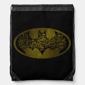 Skulls in Bat Symbol Drawstring Backpack