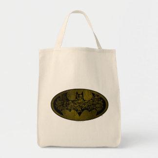 Skulls in Bat Symbol Grocery Tote Bag