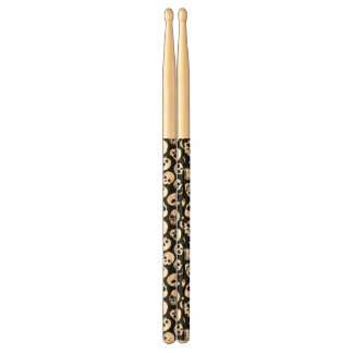 Skulls in Black Background Pattern Drumsticks