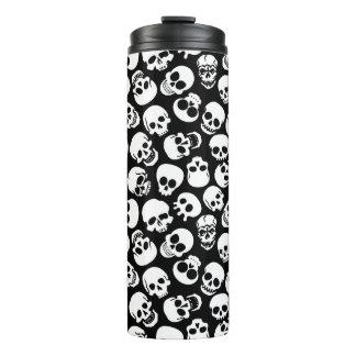 Skulls in Black Background Pattern Thermal Tumbler