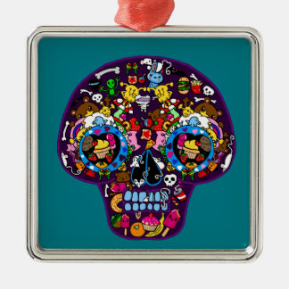 SKULLS - Kawaii Doodle Sugar Art by LeahG Silver-Colored Square Decoration
