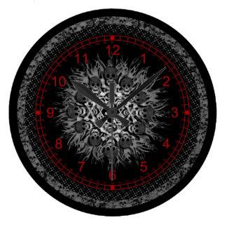skulls large clock