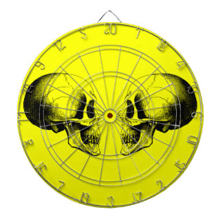 Skulls Metal Cage Yellow Dartboard