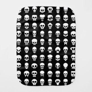 Skulls on black background baby burp cloth
