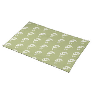 Skulls Pattern in Khaki Green and White. Placemat