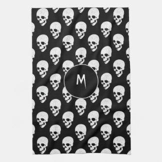 Skulls pattern tea towel