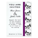 """Skulls (Purple) Wedding Invitation 5"""" X 7"""" Invitation Card"""
