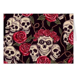 Skulls Roses Greeting Cards