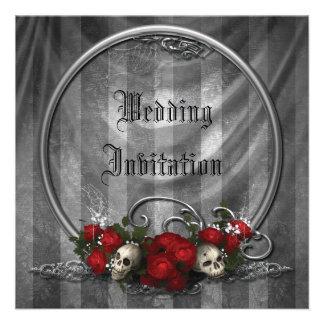 Skulls Roses Elegant Gothic Wedding Invites