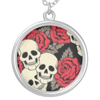 Skulls & Roses Silver Plated Round Necklace