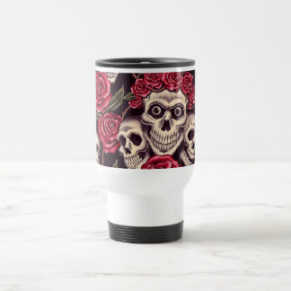Skulls & Roses Stainless Steel Travel Mug