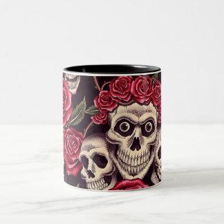 Skulls & Roses Two-Tone Coffee Mug