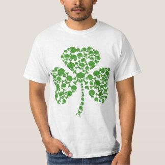 Skulls Shamrock Green Beer Day Tee Shirt