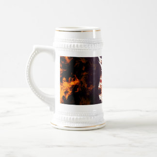 Skulls surrounded by fire and flames coffee mugs