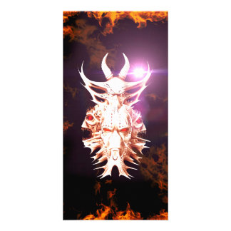 Skulls surrounded by fire and flames customized photo card