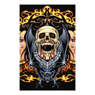 Skulls, Vampires and Bats Gothic Design by Al Rio Personalized Flyer