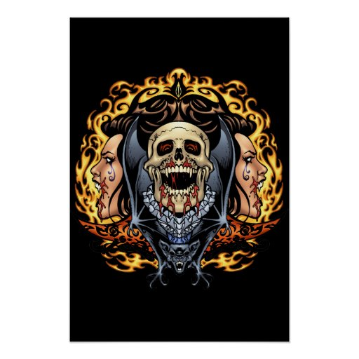 Skulls, Vampires and Bats Gothic Design by Al Rio Posters