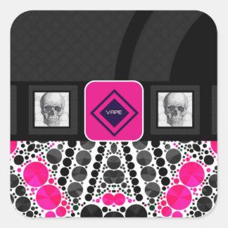 Skulls Vape Zebra Bling Square Sticker