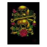 Skulls, Webs, and Roses Postcard