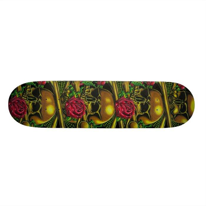 Skulls, Webs, and Roses Skateboard