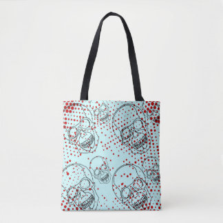 Skulls with bloody halftone splashes tote bag