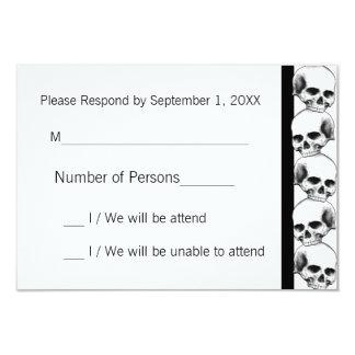 Skulls with Stripe(Black) RSVP Card 9 Cm X 13 Cm Invitation Card