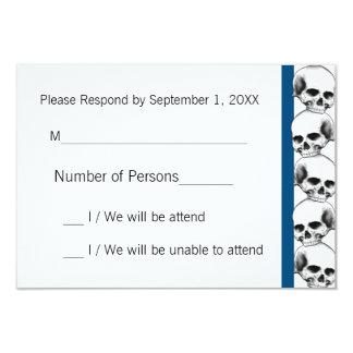 Skulls with Stripe(Blue) RSVP Card 9 Cm X 13 Cm Invitation Card