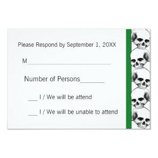 Skulls with Stripe(Green) RSVP Card 9 Cm X 13 Cm Invitation Card
