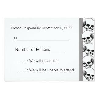 Skulls with Stripe(Grey) RSVP Card 9 Cm X 13 Cm Invitation Card