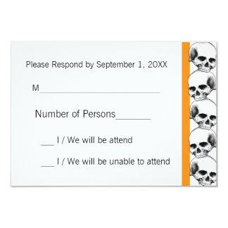Skulls with Stripe(Orange) RSVP Card 9 Cm X 13 Cm Invitation Card