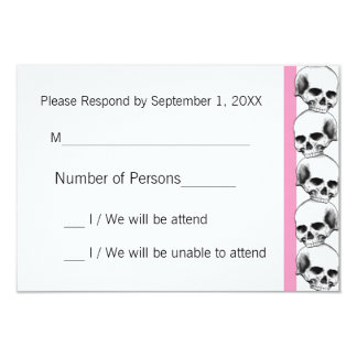 Skulls with Stripe(Pink) RSVP Card 9 Cm X 13 Cm Invitation Card