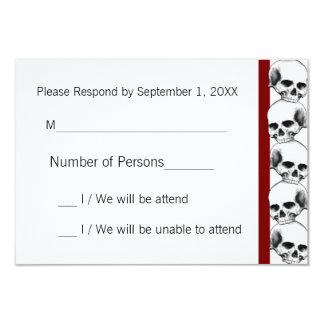 Skulls with Stripe(Red) RSVP Card