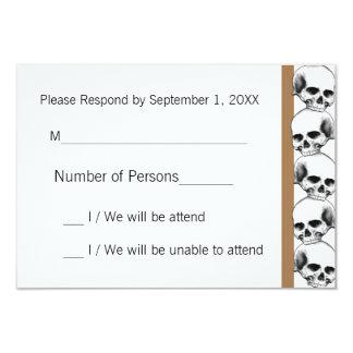 Skulls with Stripe(Tan) RSVP Card 9 Cm X 13 Cm Invitation Card