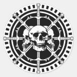 Skulls with Swords Round Sticker