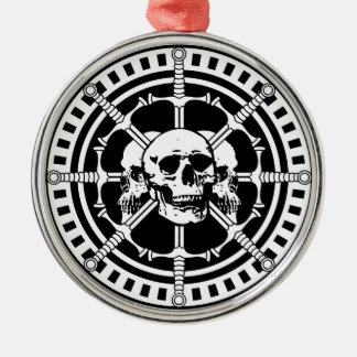Skulls with Swords Silver-Colored Round Decoration