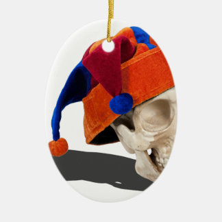 SkullWearingJokerHat103013.png Ceramic Oval Decoration