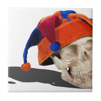 SkullWearingJokerHat103013.png Ceramic Tile