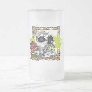 Skully 4 with Dahlias Frosted Glass Beer Mug