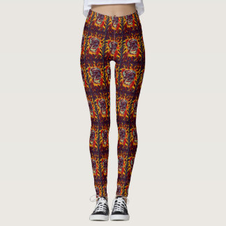 Skully Skull Flaming Skull Dark Art Leggings