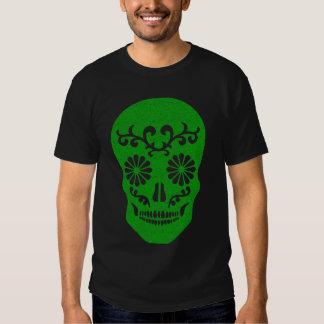 Skully Skull Green Party Grunge Skull Tee