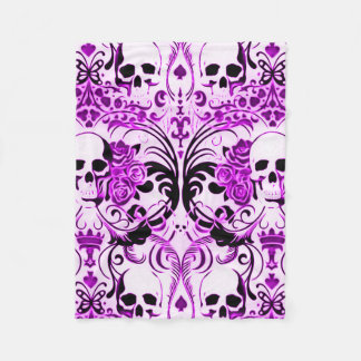 Skully Skull Purple Death Fleece Blanket