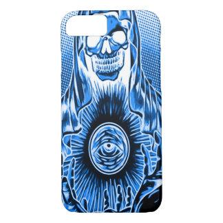 Skully Skull Retro Blue Death iPhone 7 Case