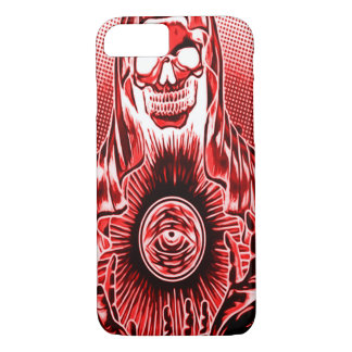 Skully Skull Retro Red Death iPhone 7 Case