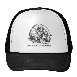 SKULLY SKULLOWEEN SPIDERS SKULL VINTAGE PRINT CAP