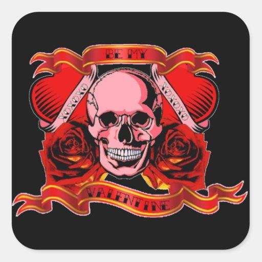 Skully Valentine Tattoo Square Sticker